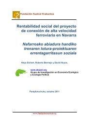 Rentabilidad social del proyecto de conexión de alta velocidad ferroviaria en Navarra.