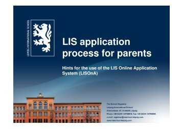LIS application process for parents - Leipzig International School