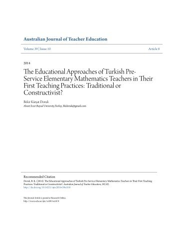 The Educational Approaches of Turkish Pre-Service Elementary Mathematics Teachers in Their First Teaching EJ1041869