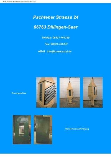 Pachtener Strasse 24 66763 Dillingen-Saar - GHL GmbH
