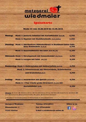 Speisekarte Glatten KW 34
