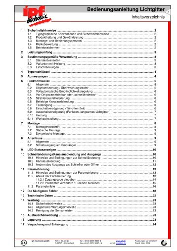 Bedienungsanleitung Lichtgitter - IPF Electronic GmbH