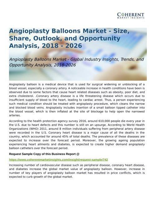 Angioplasty Balloons Market Opportunity Analysis, 2018-2026