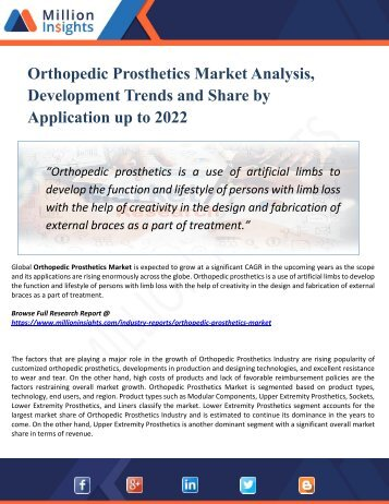Orthopedic Prosthetics Market Manufacturers, Suppliers and Top Key Players Analysis and Forecast 2022