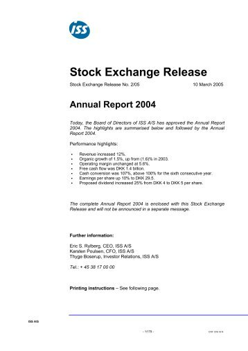 Stock Exchange Release - ISS