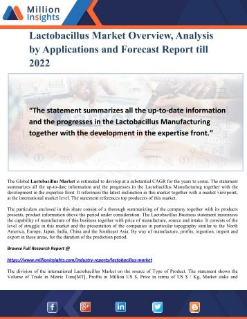 Lactobacillus Market Overview, Analysis by Applications and Forecast Report till 2022