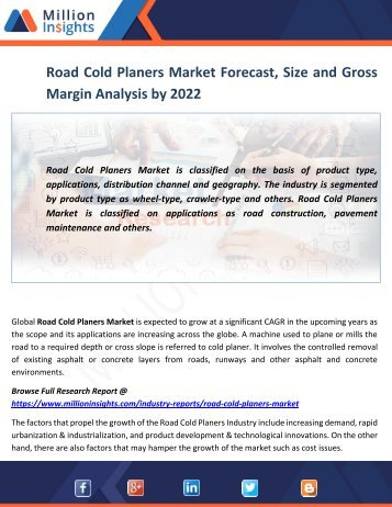 Road Cold Planers Market Growth Factors, Trends and Forecast Report to 2022