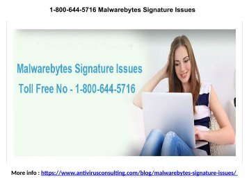 1-800-644-5716 Malwarebytes Signature Issues