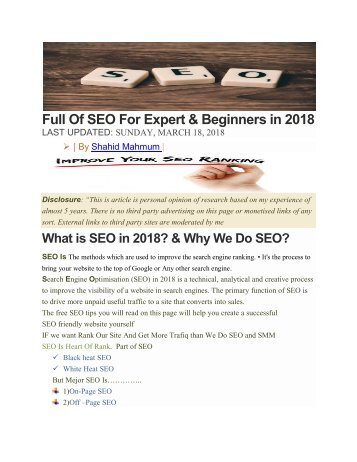 SEO Best eBook  2018 By Shahid Mahmum