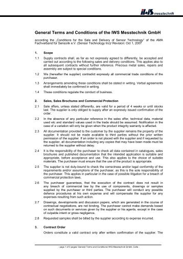 General Terms and Conditions (PDF) - IWS Messtechnik GmbH