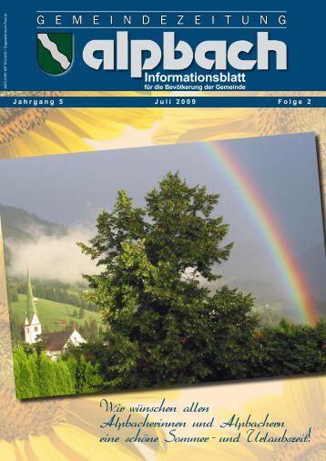 Informationsblatt Wir wunschen allen ... - Alpbach - Land Tirol