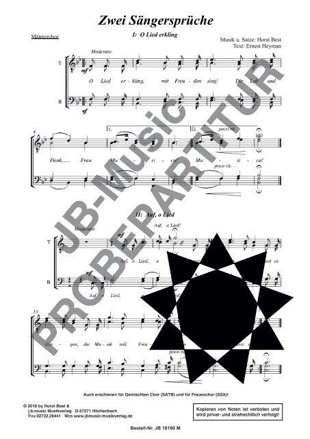 Zwei Sängersprüche (für Männerchor TTBB)