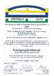 ZERIFIKAT ~ W 0578 - Jakob Becker Unternehmensgruppe