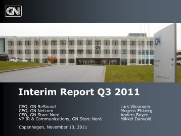 GN Q1 Interim Report 2011 - GN Store Nord