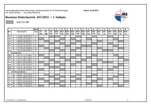Blockplan Elektrotechnik 2011/2012 / 1. Halbjahr - Johann-Bierwirth ...