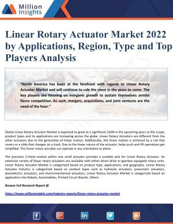 Linear Rotary Actuator Market 2022 by Applications, Region, Type and Top Players Analysis