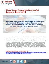 Laser Cutting Machine Market : Size, Industry Share, Growth,Scope, Forecast And Analysis Report 2018