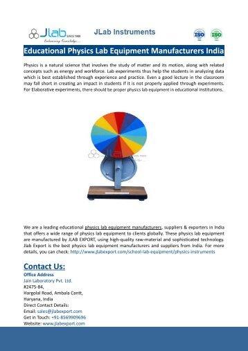 Educational Physics Lab Equipment Manufacturers India-JLABEXPORT