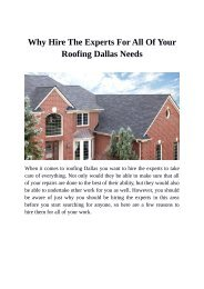 Why Hire The Experts For All Of Your Roofing Dallas Needs