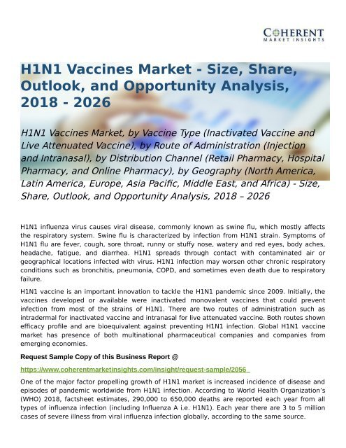 H1N1 Vaccines Market Opportunity Analysis, 2018 – 2026