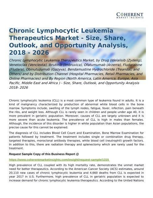 Chronic Lymphocytic Leukemia Therapeutics Market Opportunity Analysis 2018- 2026