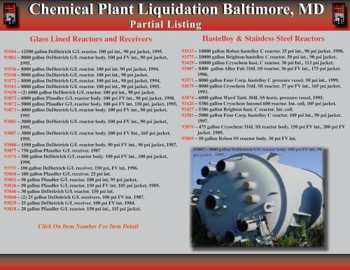 Chemical Plant Liquidation Baltimore, MD - Louisiana Chemical