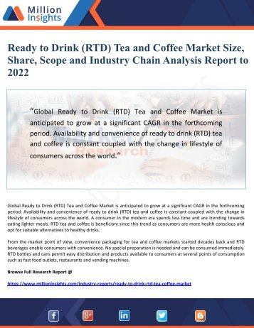 Ready to Drink (RTD) Tea and Coffee Market Size, Share, Scope and Industry Chain Analysis Report to 2022