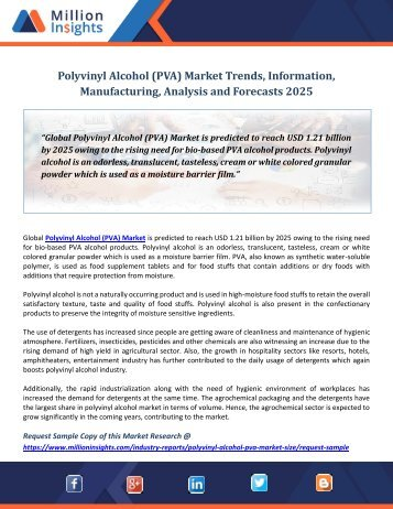 Polyvinyl Alcohol (PVA) Market Trends, Information, Manufacturing, Analysis and Forecasts 2025