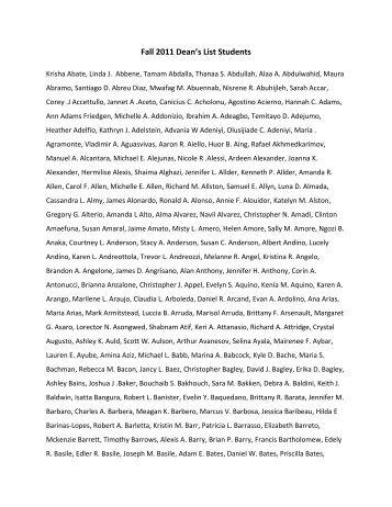 Fall 2011 Dean's List Students