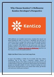 Why Choose Kentico? A Melbourne Kentico Developer's Perspective