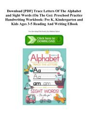Download [PDF] Trace Letters Of The Alphabet and Sight Words (On The Go) Preschool Practice Handwriting Workbook Pre K  Kindergarten and Kids Ages 3-5 Reading And Writing EBook