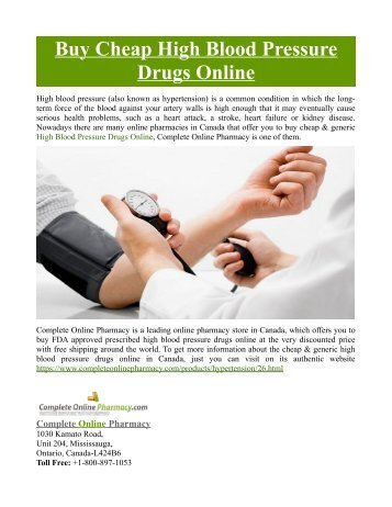 Buy Cheap High Blood Pressure Drugs Online