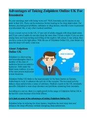 Advantages of Taking Zolpidem Online UK For Insomnia
