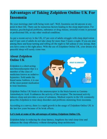 Advantages of Taking Zolpidem Online UK For Insomnia