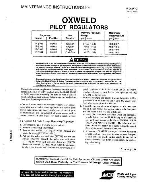 PILOT REGULATORS