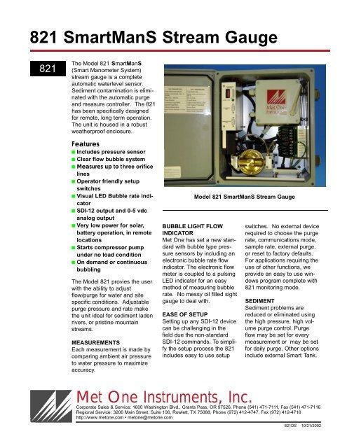 821 SmartManS Stream Gauge - Met One Instruments, Inc