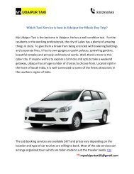 Which Taxi Service is best in Udaipur for Whole Day Trip