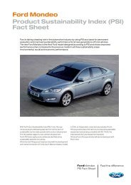 Ford Mondeo Product Sustainability Index (PSI) Fact Sheet