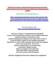 UOP HCS 542 Week 3 Individual Assignment Research Study Proposal Part II Literature Review and Research Questions