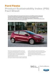 Ford Fiesta Product Sustainability Index (PSI) Fact Sheet