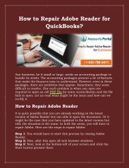 Dial 1800-796-0471 For How to Repair Adobe Reader for QuickBooks?