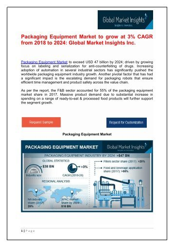 Packaging Equipment Market to grow at 3