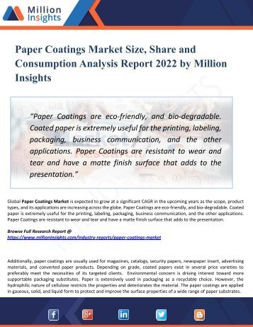 Paper Coatings Market Supplier, Competition by Manufacturers and Competitor Analysis to 2022 Forecast