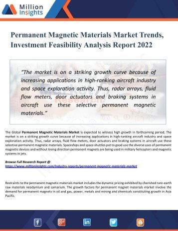 Permanent Magnetic Materials Market Segmented by Material, Type, End-User Industry and Geography – Trends and Forecasts 2022