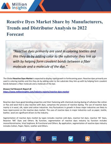 Reactive Dyes Market Perspective, Comprehensive Analysis, Size, Share, Growth, Segment, Trends and Forecast 2022