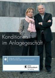 Konditionen im Anlagegeschäft - Basler Kantonalbank
