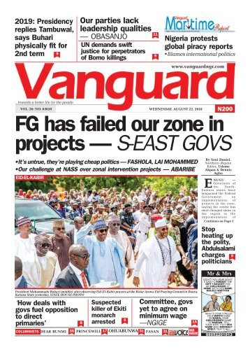 22082018 - FG has failed our zone in projects — S-EAST GOVS