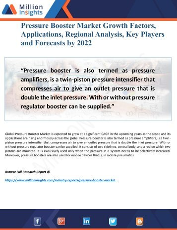 Pressure Booster Market from 2018-2022: Growth Analysis by Manufacturers