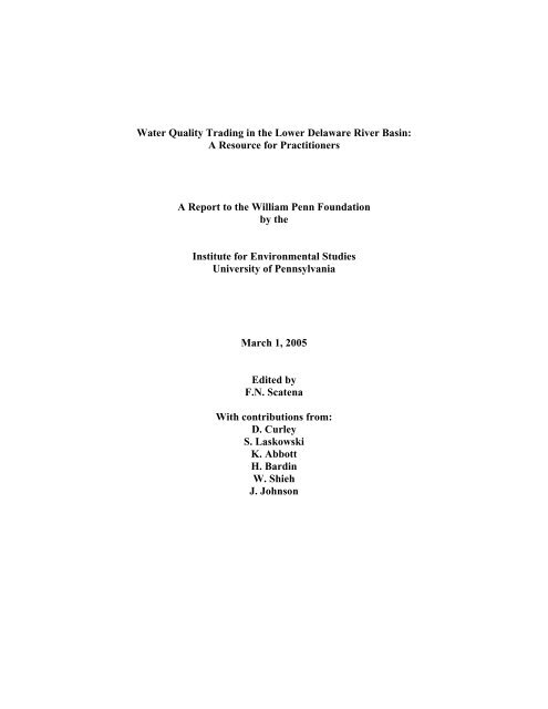 Water Quality Trading in the Lower Delaware River Basin: A ...