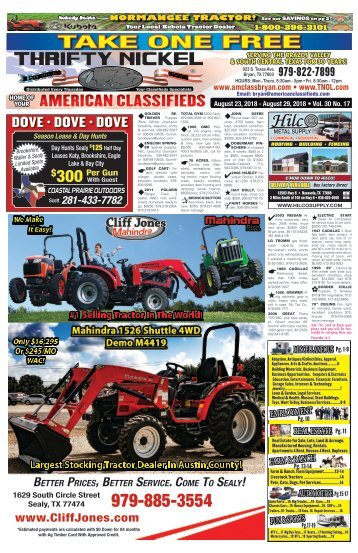 American Classifieds/Thrifty Nickel Aug. 23rd Edition Bryan/College Station